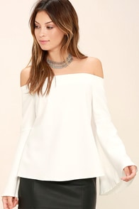 Dreams of Dancing White Off-the-Shoulder Top