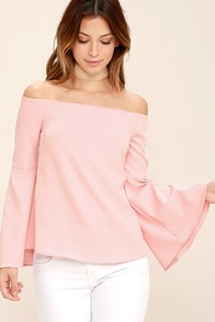 Essue Dreams of Dancing Blush Pink Off-the-Shoulder Top
