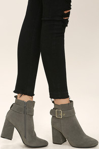 Livia Grey Suede Ankle Booties
