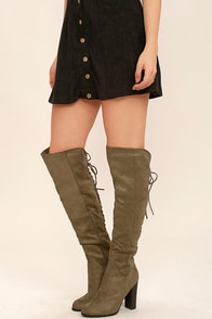 Right Here, Right Now Taupe Suede Lace-Up Over the Knee Boots