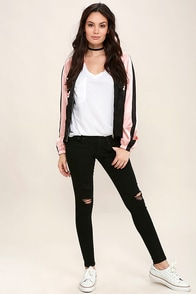 Time Warp Black Distressed Skinny Jeans