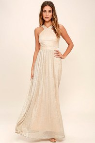 Always Moving Gold Maxi Dress