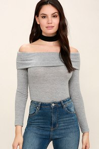 Sure and Certain Heather Grey Off-the-Shoulder Sweater Top