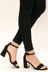 Tamra Black Suede Ankle Strap Heels