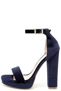 Demi Blue Velvet Platform Heels Image