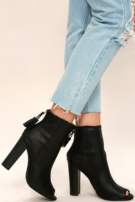 Alexia Black Nubuck Peep-Toe Booties