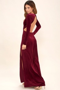 Besame Burgundy Velvet Long Sleeve Maxi Dress