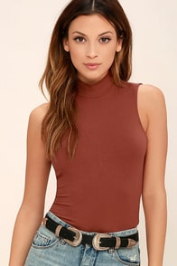 Infatuated Rusty Rose Backless Bodysuit