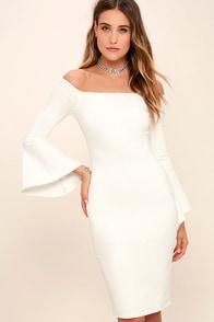 All She Wants White Off-the-Shoulder Midi Dress