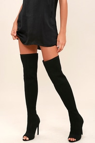 Vice Black Knit Peep-Toe Thigh High Boots