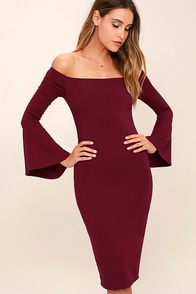 All She Wants Burgundy Off-the-Shoulder Midi Dress