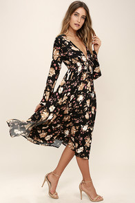 Somedays Lovin' Dierdre Black Floral Print Midi Dress at Lulus.com!