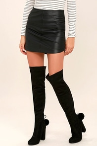 Prague Black Suede Over the Knee Boots