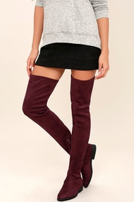 LFL Rank Burgundy Suede Thigh High Boots