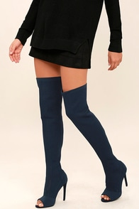 Vice Navy Knit Peep-Toe Thigh High Boots