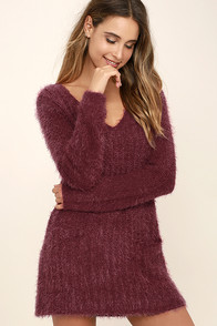 Cute Burgundy Dress Lace Dress Cutout Dress Skater