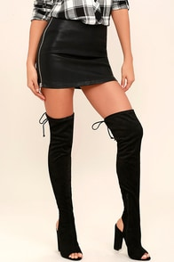 Alessandra Black Suede Peep-Toe Over the Knee Boots