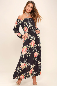 Billabong Crystal Ball Washed Black Floral Print Maxi Dress at Lulus.com!