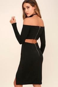 Sweet Fantasy Black Backless Off-the-Shoulder Dress