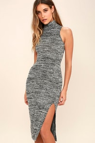Stay A While Charcoal Grey Bodycon Midi Dress