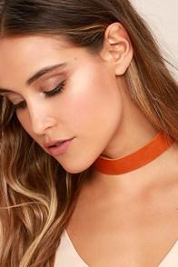 Vanessa Mooney Violet Orange Leather Choker Necklace