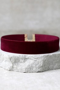 One Moment in Time Burgundy Velvet Choker Necklace