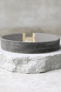 One Moment in Time Grey Velvet Choker Necklace