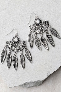 Synergy Silver Feather Earrings
