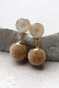 Causing a Commotion Gold and Taupe Pompom Earrings