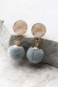 Causing a Commotion Gold and Grey Pompom Earrings