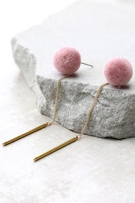 Open Your Heart Gold and Pink Pompom Earrings