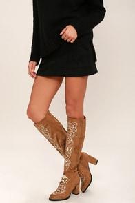 Mischa Camel Suede Knee High Heel Boots