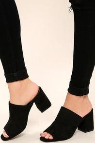Symone Black Suede Peep-Toe Mules