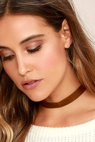 Vanessa Mooney Adeline Brown Leather Choker Necklace
