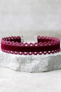 What I Want Burgundy Velvet Choker Necklace