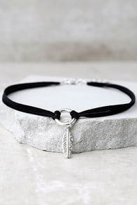 Found Treasures Black and Silver Choker Necklace