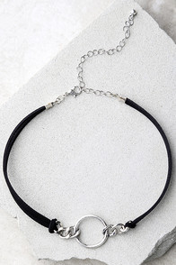 Reunion of the Heart Black and Silver Choker Necklace