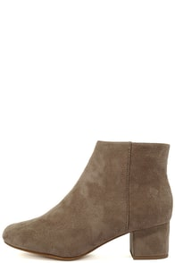 Melanie Smoke Taupe Suede Ankle Booties