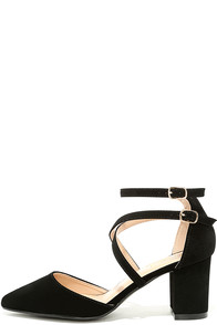 Glaze Shoes Gwen Black Nubuck Ankle Strap Heels