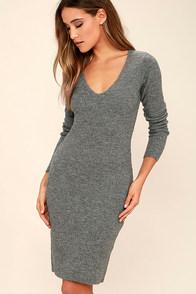 Black Swan Wynona Heather Grey Sweater Dress