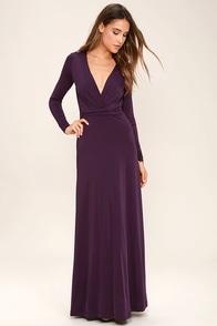 Chic-quinox Plum Purple Long Sleeve Maxi Dress