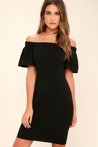 Do it Right Black Off-the-Shoulder Midi Dress