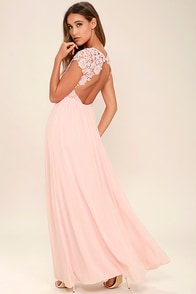 The Greatest Blush Pink Lace Maxi Dress
