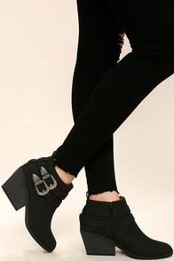Ali Black Nubuck Wedge Booties