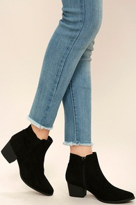 Dorothy Black Suede Ankle Booties