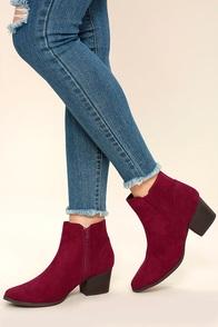 Dorothy Burgundy Suede Ankle Booties