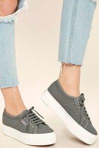 Superga 2790 ACOTW Grey Sage Platform Sneakers Image