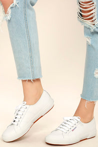 Superga 2750 FGLU White Leather Sneakers Image