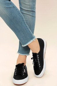 Superga 2750 FGLU Black Leather Sneakers Image