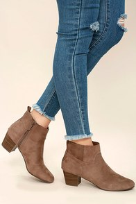 River Taupe Suede Ankle Booties